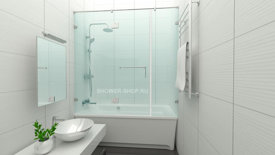 Шторка на ванну с дверью  по центру №113
